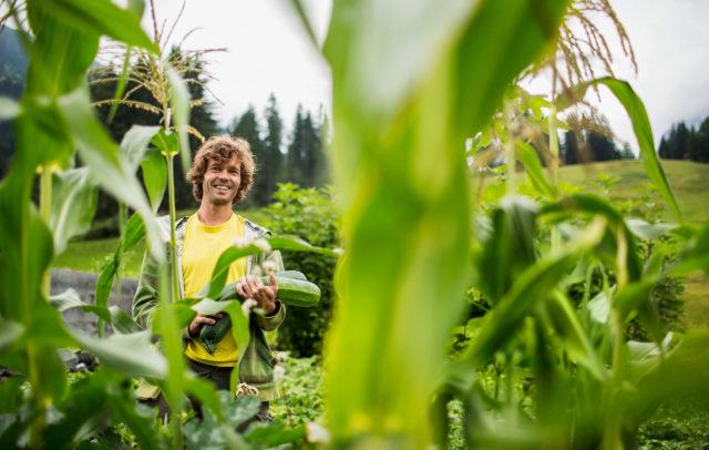 Permakulturgärtner Andreas Haller in seinem Garten im Kleinwalsertal © Darko Todorovic