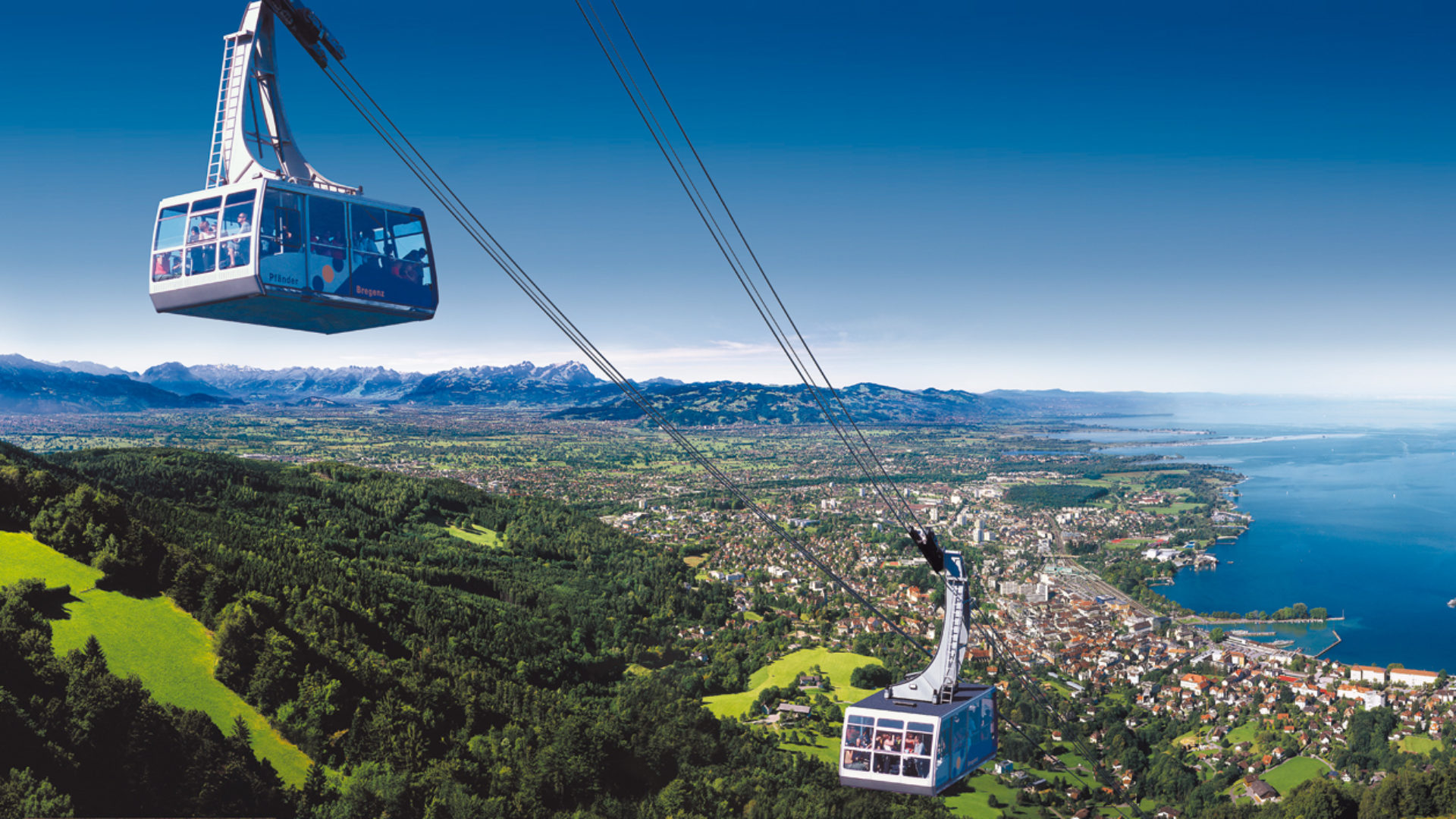 Pfänderbahn, Bergbahn, Seilbahn, Panorama Bodensee, V-CARD (c) Otmar Heidegger / Vorarlberg Tourismus