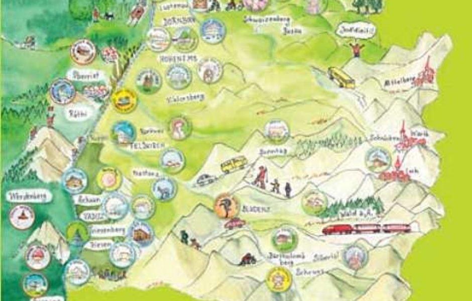 Reiseziel Museum, Illustration Karte Vorarlberg (c) Illustration Monika Hehle