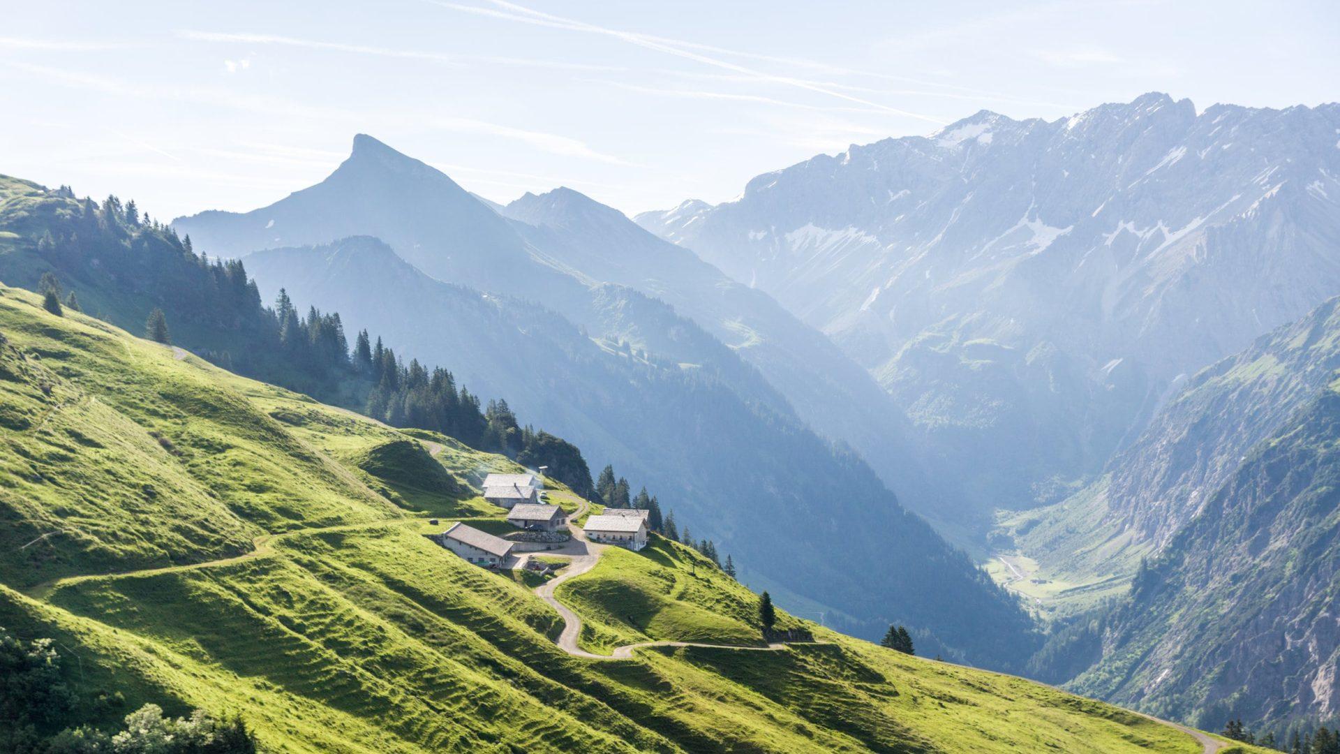 Blick auf Alpe Ober-Überlut, Sonntag (c) Helmut Düringer - Vorarlberg Tourismus GmbH