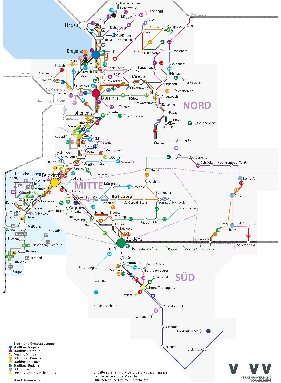 Verkehrsverbund Vorarlberg route network (c) vmobil.at