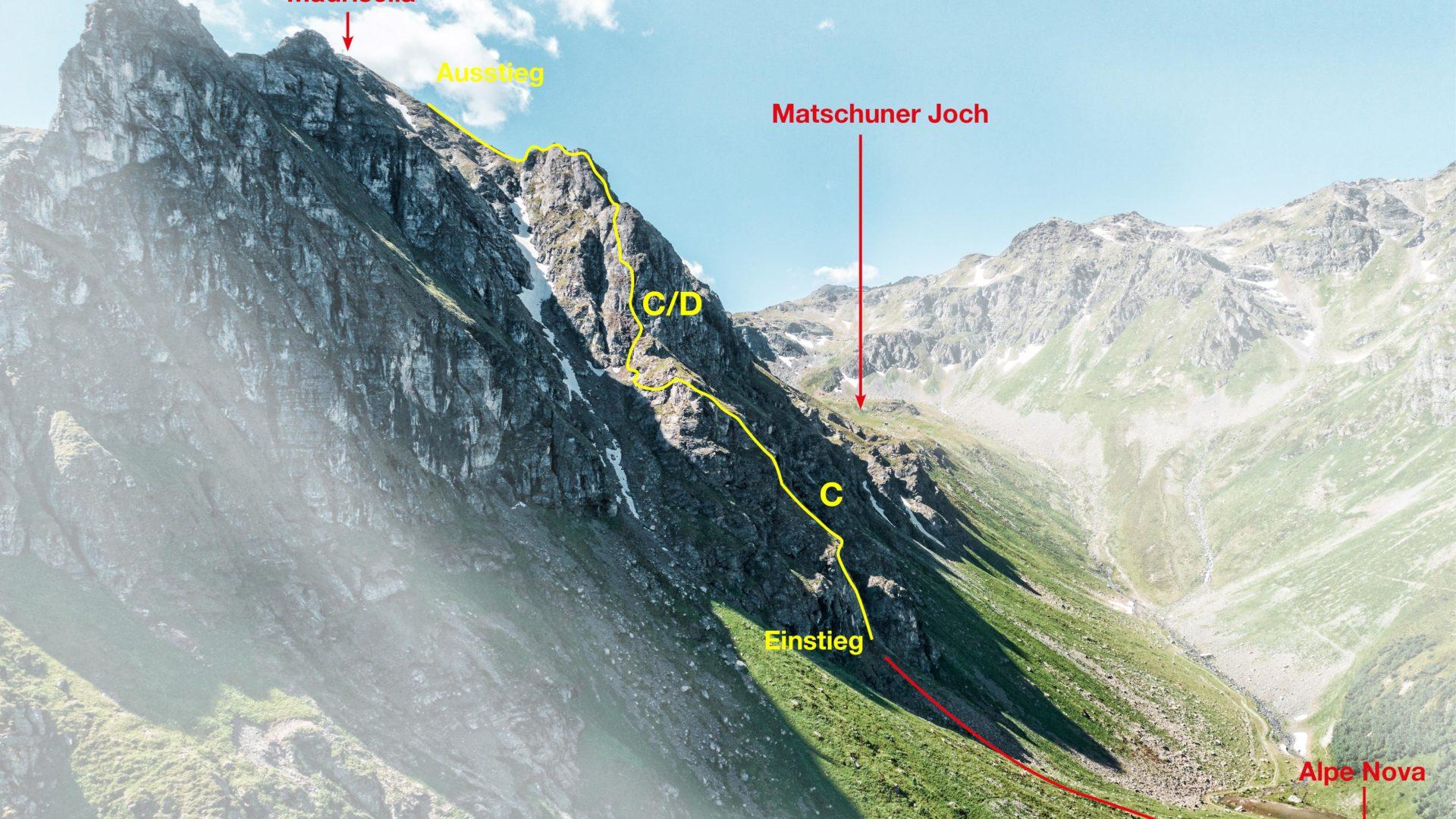 Topo Klettersteig Madrisella