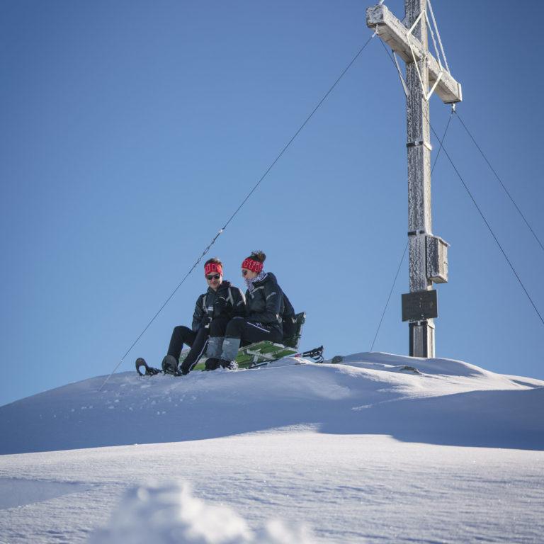 Gipfelrast Schneeschuhtour Sonnenkopf zum Muttjoechle © Dietmar Denger / Vorarlberg Tourismus