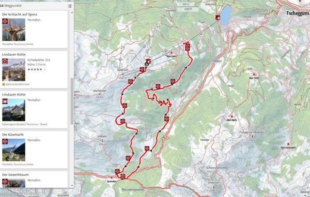 Vorarlberg Online Karte, Wanderkarte, interaktiv (c) Vorarlberg Tourismus / Outdoor Active