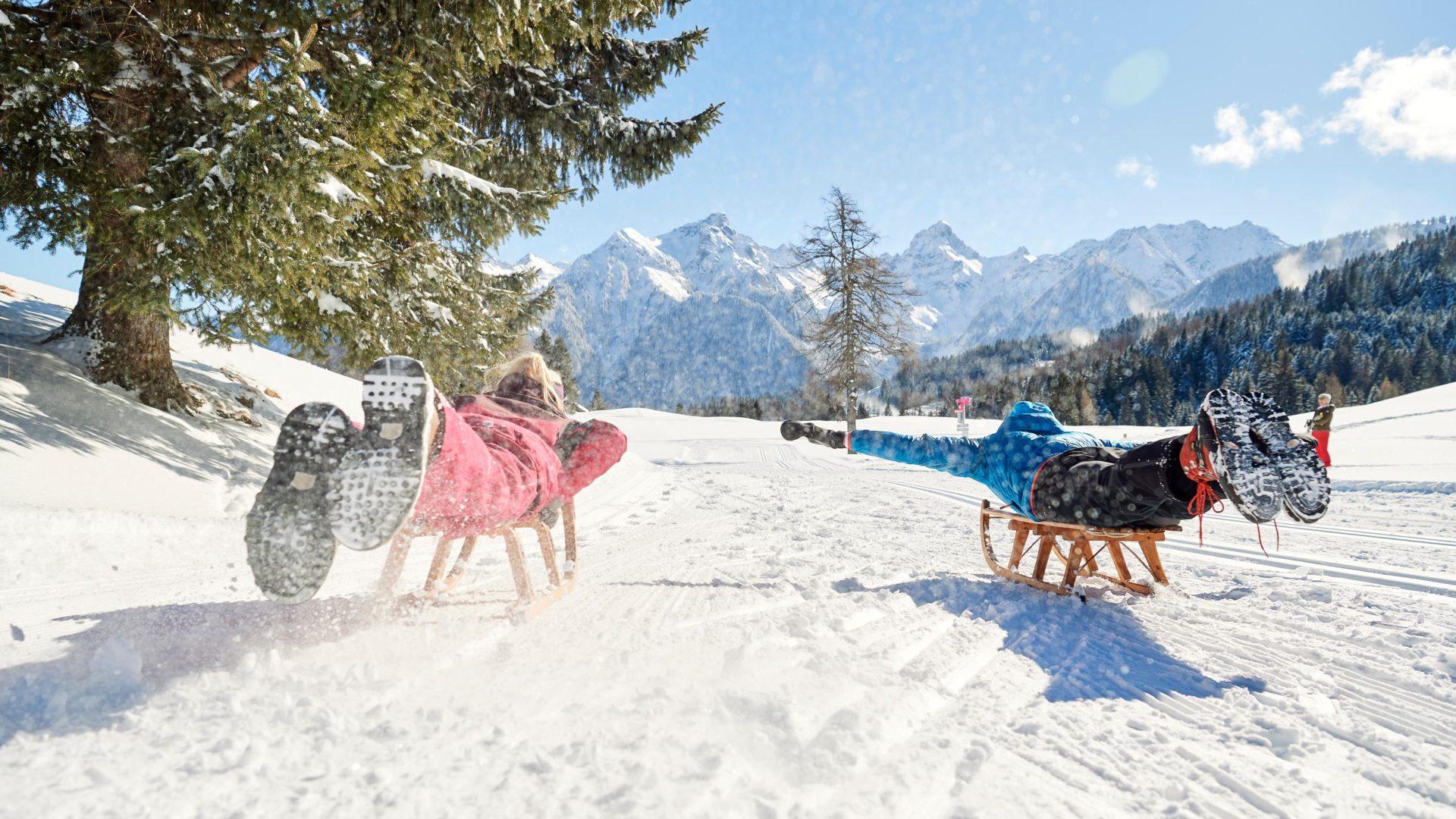Die Rodelsafari - eine Kombination aus Rodeln und Winterwandern