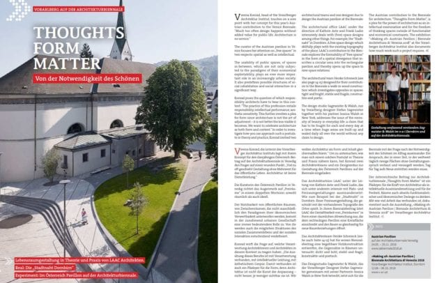 Creative Austria Magazinseite Vorarlberg Biennale Venedig (c) Creative Austria