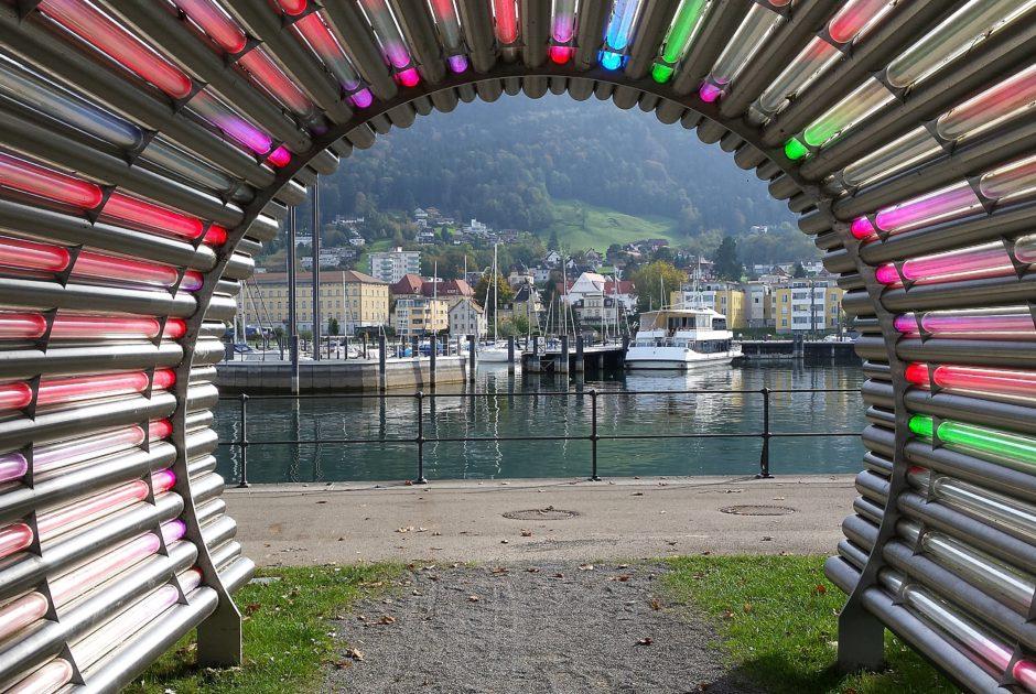 Installation Lichttunnel von Gerry Amann, Hafen Bregenz, Kunst im öffentlichen Raum (c) Bregenz Tourismus, Vorarlberg