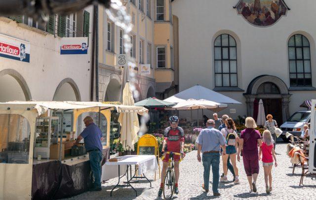 Marktgasse Feldkirch mit Brunnen © Gregor Lengler / Vorarlberg Tourismus