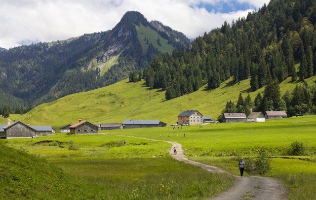 Wandern im Vorsäß Schönenbach © Kristina Stalnionyte / Vorarlberg Tourismus