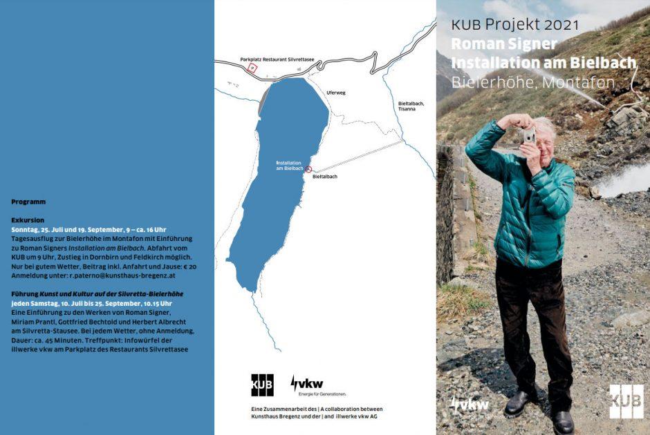 KUB Projekt 2021 — Roman Signer Installation am Bielbach, Flyer (c) Kunsthaus Bregenz